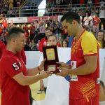 Macedonian Handball Federation press activities: Presenting recognition to the Captain of the Macedonian national team  Skopje 2015